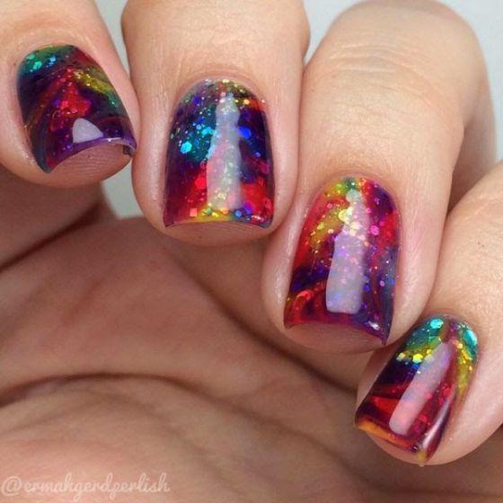 diseos de uñas tipo esmeralda