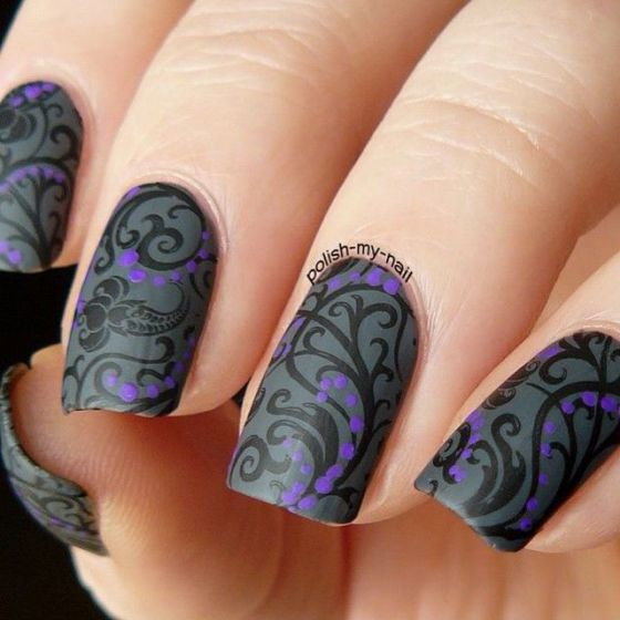 uñas negras acrilicas decoradas