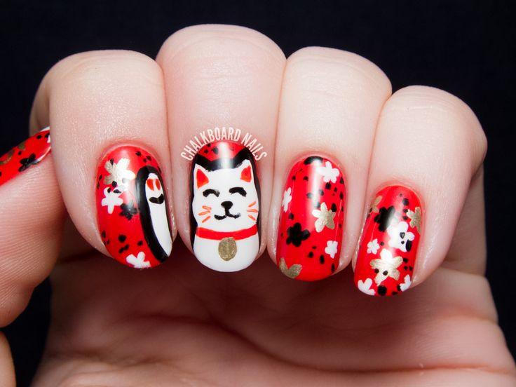 Gato japones decorado en uñas
