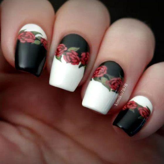 blanco y negro con rosas
