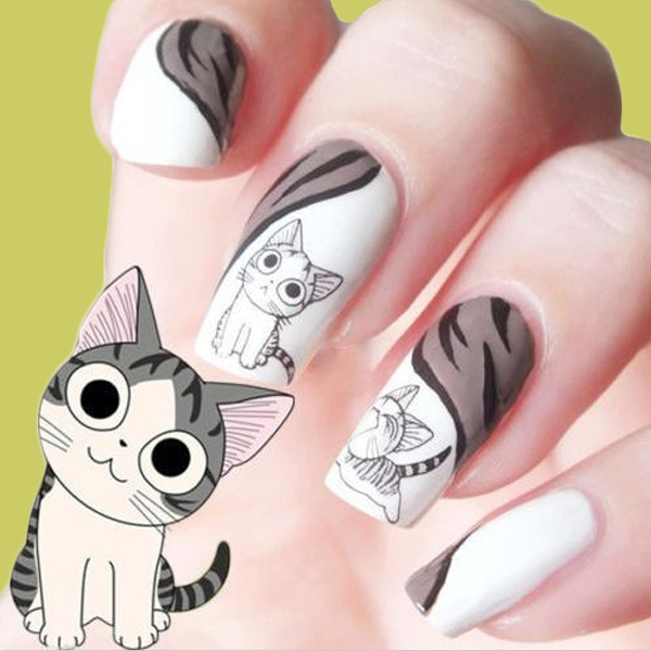 cute nails cat