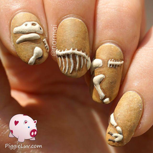 decoracion de uñas tipo fosil