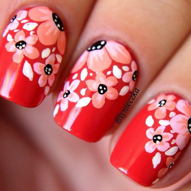 diseños rojo con flores