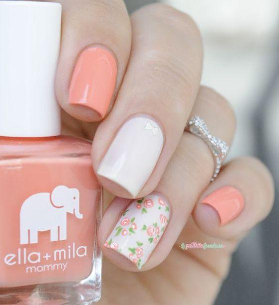 nude uñas con flores