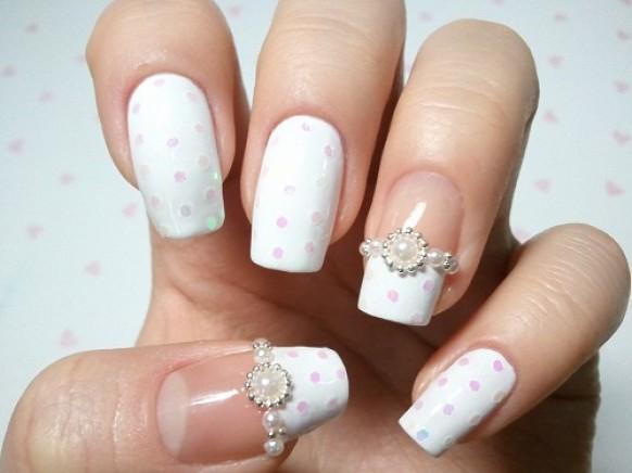 uñas blancas para boda
