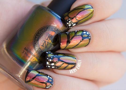 uñas de gel diseño de mariposas