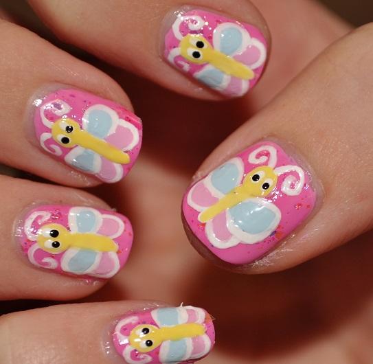 uñas de mariposa para niñas