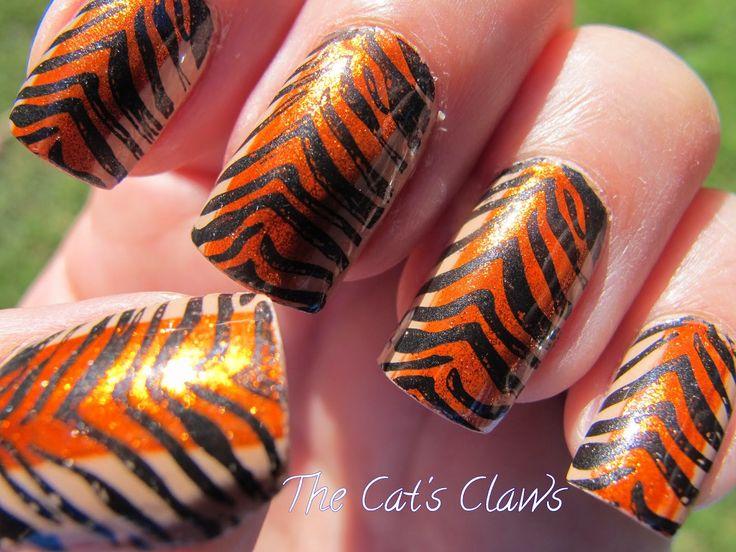 uñas decoradas de tigre