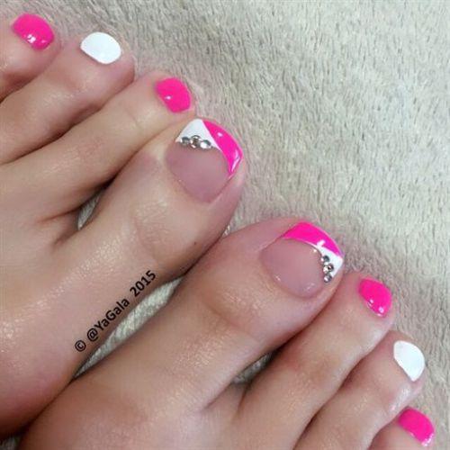 uñas para pies 2 colores