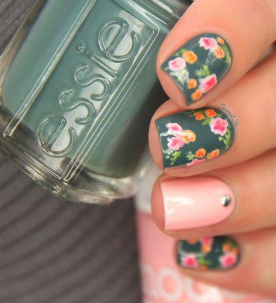 verdes con flores