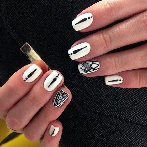 blanco y negro nail art