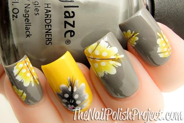 decoracion de uñas amarillas con gris