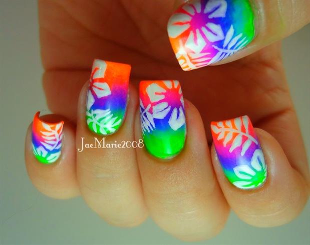 decoracion de uñas de neon con flores