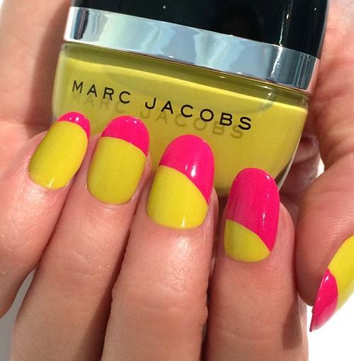 decoracion de uñas rosa y amarillo