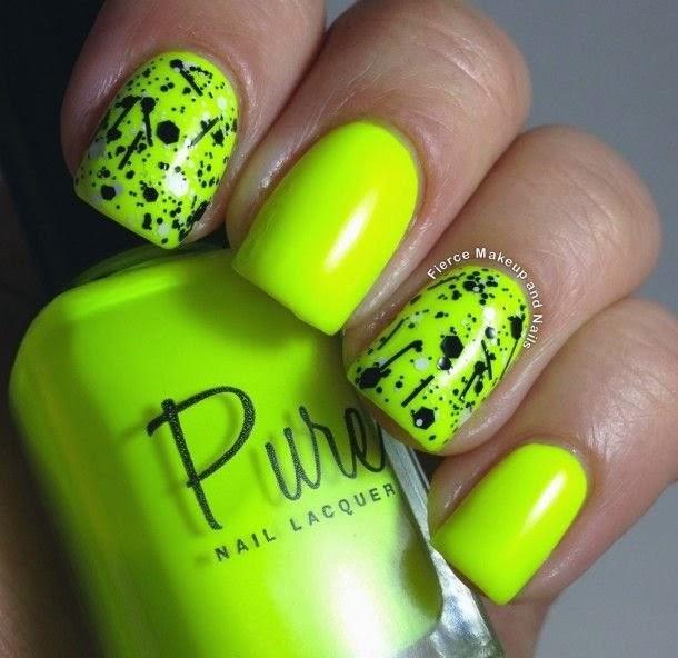 decorando uñas de neon con negro