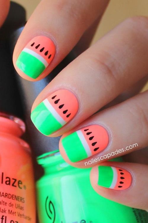 diseño de dos colores neon uñas