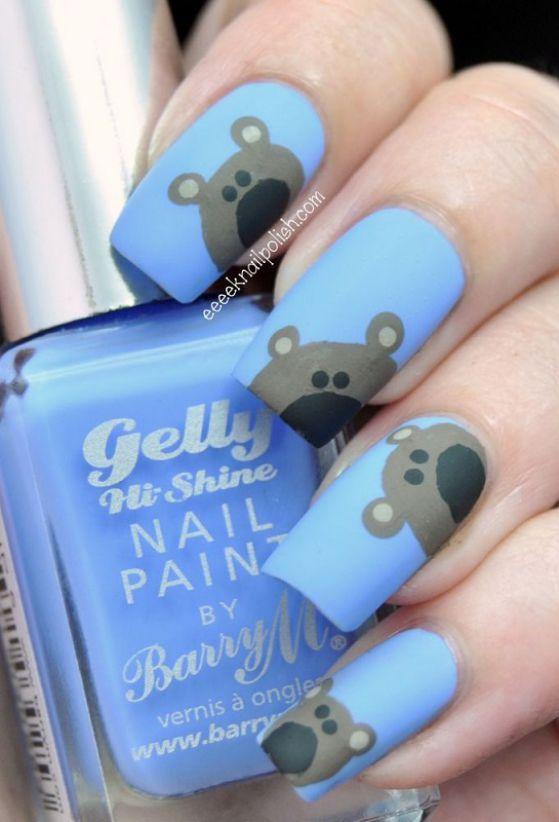 uñas azules con ositos