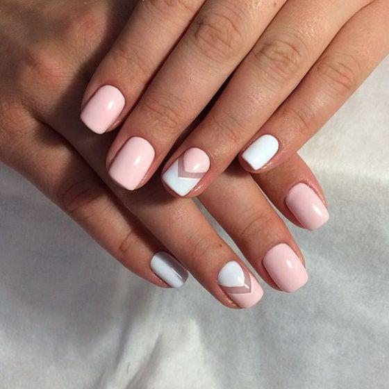 uñas blancas con rosa
