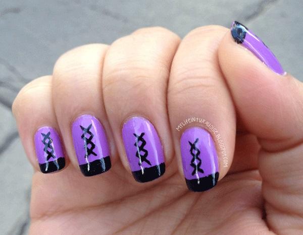 uñas cortas color violeta