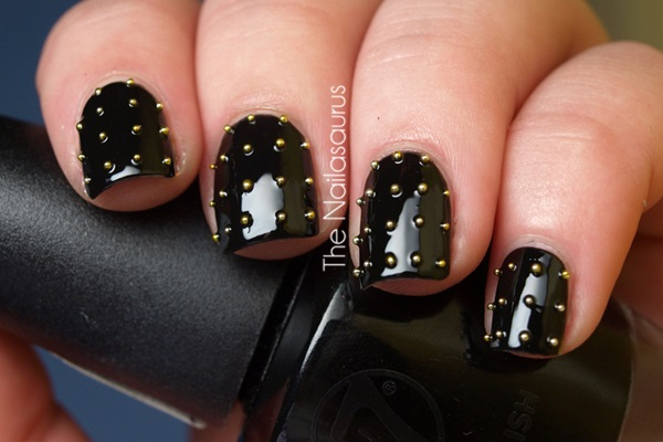 Black And White Nails With Diamonds