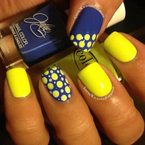 uñas decoradas amarillo neon y azul