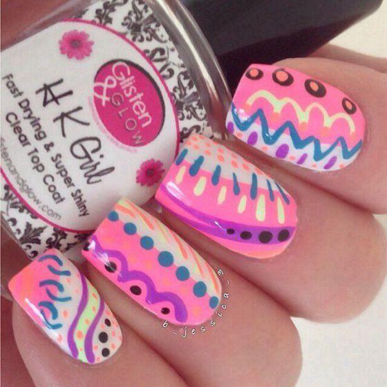 decoracion de uñas acrilicas de colores