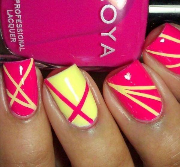 decoracion de uñas amarillo y rosa con cintillas