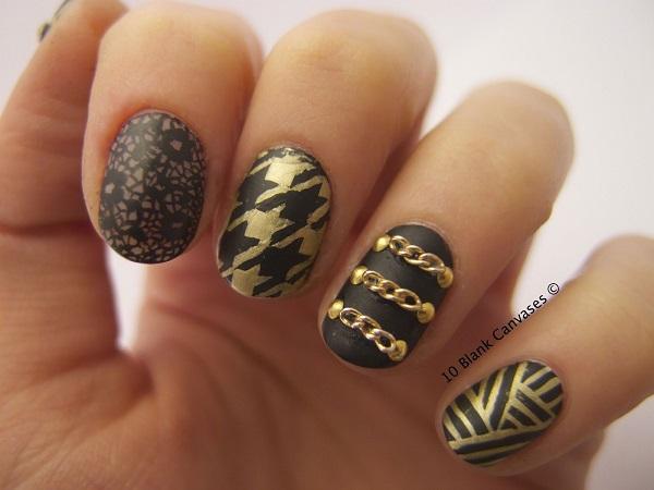decoracion de uñas cortas con dorado