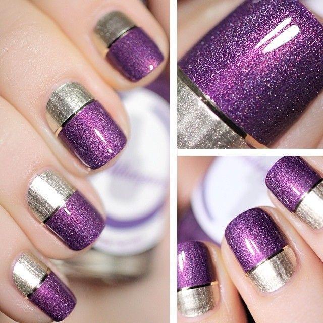 decoracion de uñas violeta y plata