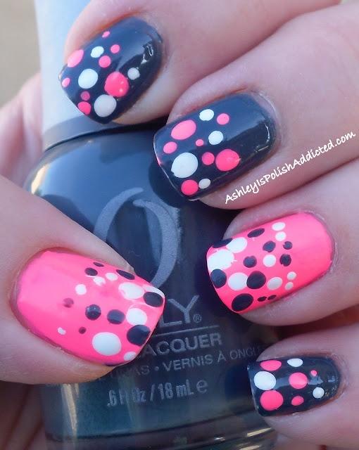 rosa y negro diseño para uñas