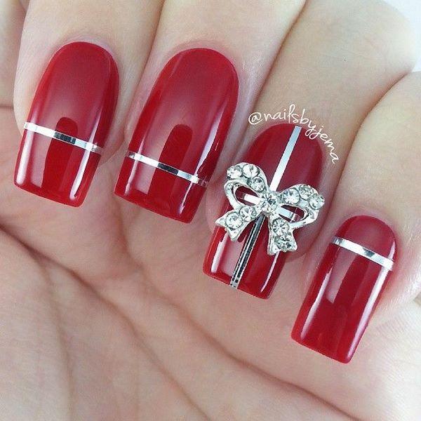 uñas acrilicas rojas con cintillas