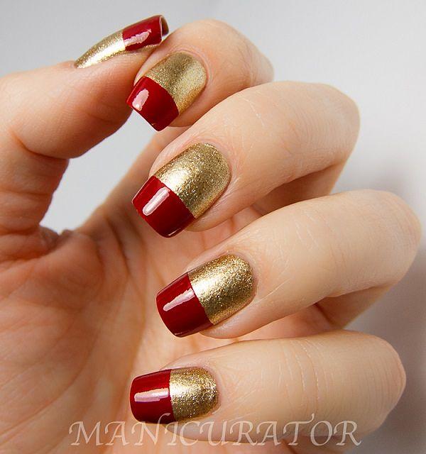 uñas color rojo y dorado