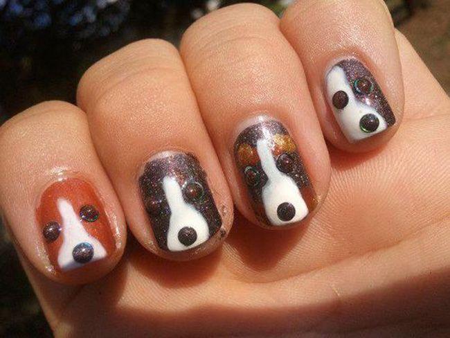 uñas con decoracion de perros y accesorios