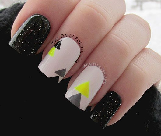 uñas cortas de gel diseño a 3 colores