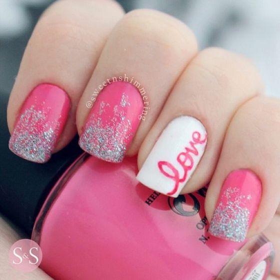uñas love rosadas