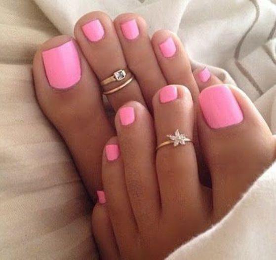 uñas para pies color rosa