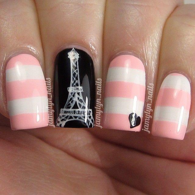 uñas rosa y blanco