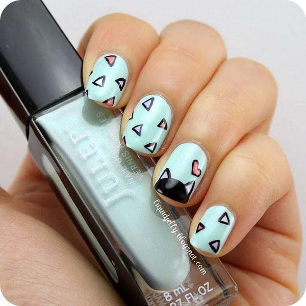 decoracion de uñas menta con gaticos