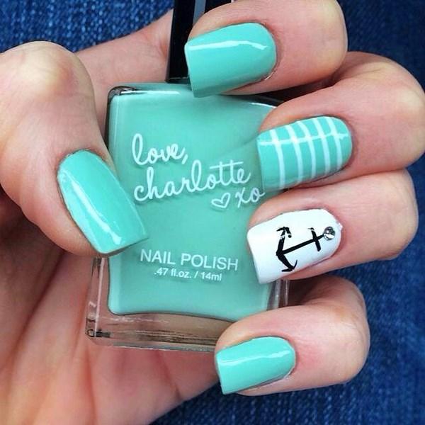 diseño de mar uñas menta
