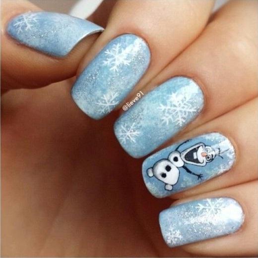 frozen diseño de uñas