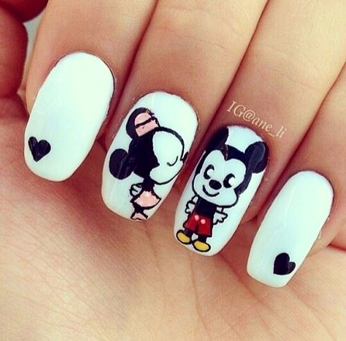 uñas de mickey y minnie