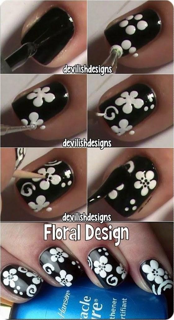 tutorial de uñas blanco y negro