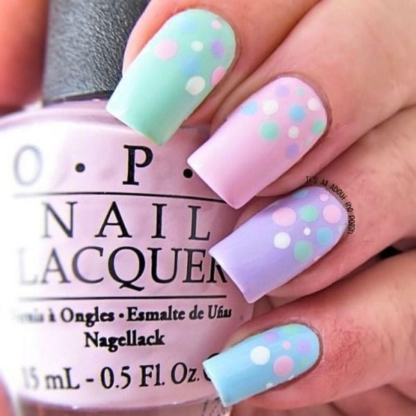 decoracion de uñas acrilicas con puntos color pastel