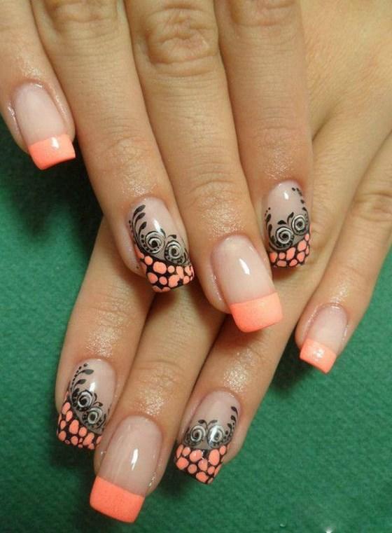 diseño de uñas coral