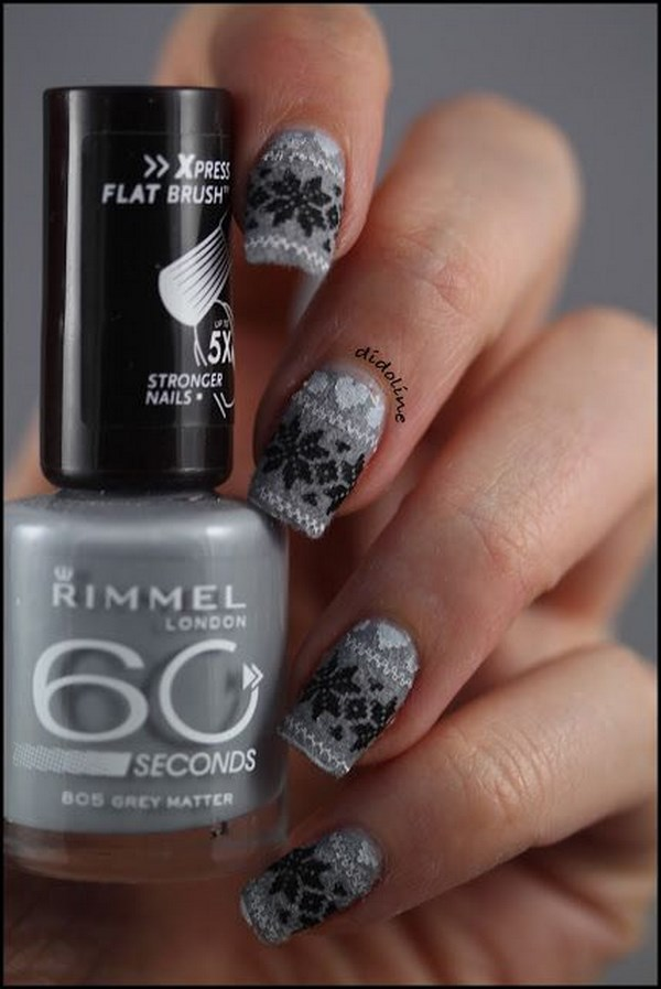 grey nails stamped
