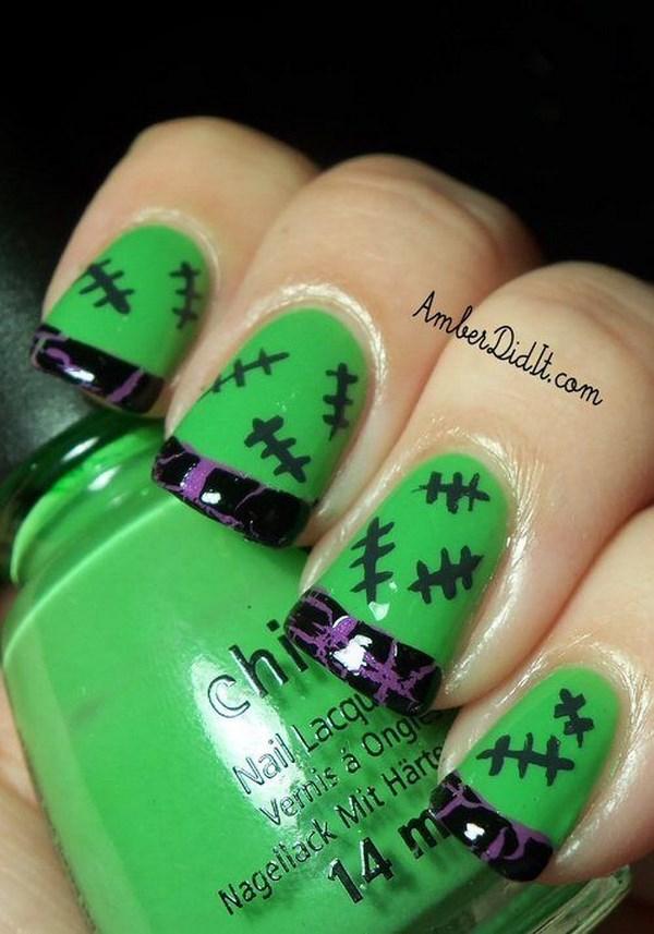 uñas de halloween verdes
