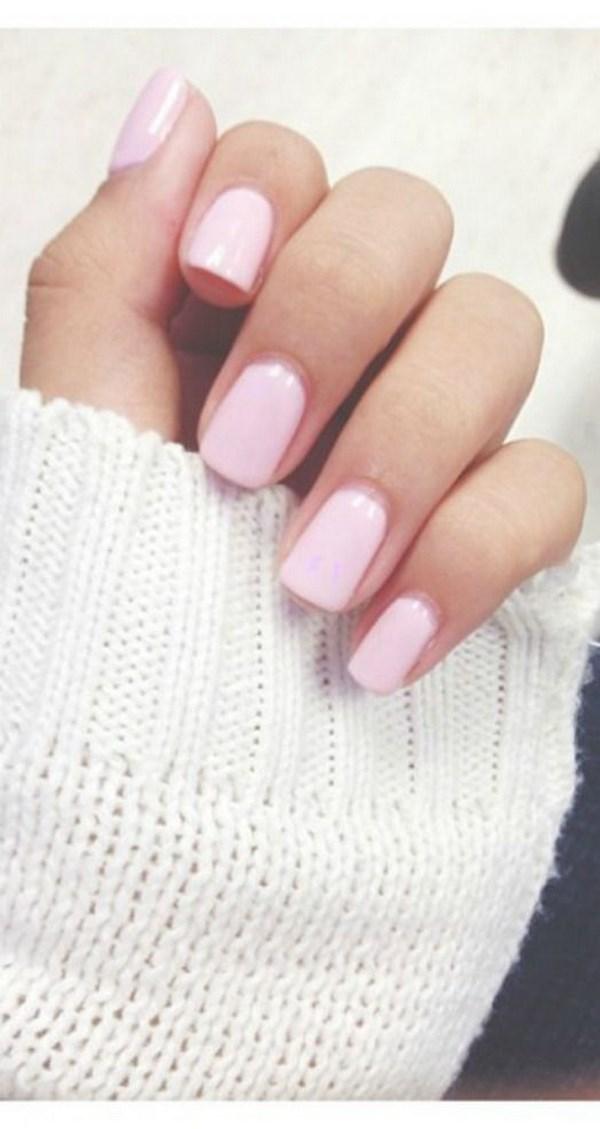 uñas de un solo color rosas