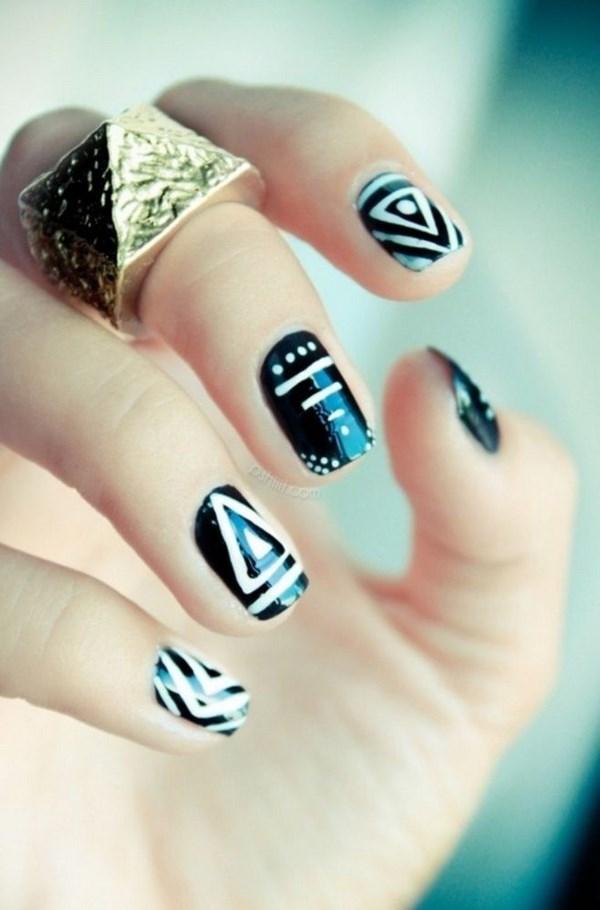 uñas geometricas blanco y negro