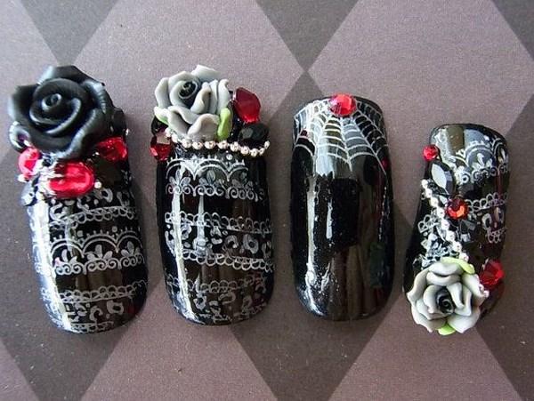 geniales uñas blanco y negro en 3D