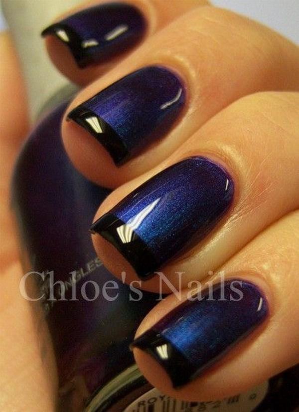 uñas azules tipo francesa